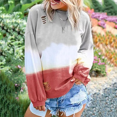 Printed long-sleeved T-shirt jacket for women's wear in Europe and America wine red l