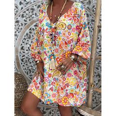 Women's V-neck print long skirt dress large size women's clothing white l