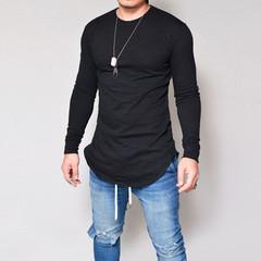 Men's Solid Color Long Round Neck Men's Long Sleeve T-Shirt black s