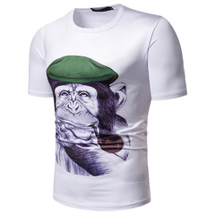Men's orangutan head print new short-sleeved T-shirt TX94 white M