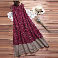 European and American cotton and linen vest dress print bohemian beach skirt summer red s