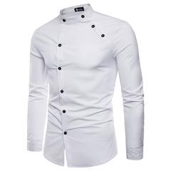 Men's fashion cut double front design long sleeve shirt DC71 white m
