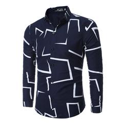 Fashion graphic men's long sleeve shirt navy 3xl