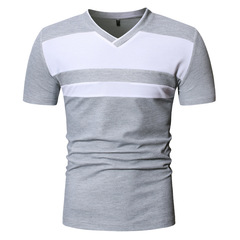 Youth Men's New T-Shirt Summer Casual V-neck Short Sleeve ZT-PL23 gray m