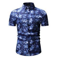 Fashion Print Men's Casual Large Size Short Sleeve Shirt blue m