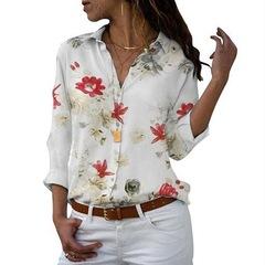 Printed shirts Women's shirts Women's wear Europe and America white safflower 5xl
