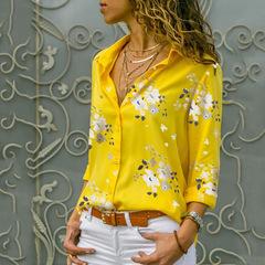 Printed shirts Women's shirts Women's wear Europe and America yellow s