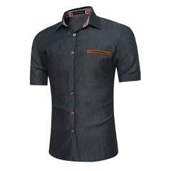 Casual large size pocket decoration men's short-sleeved shirt Ou code black S
