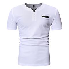 European code men's summer V-neck short-sleeved T-shirt white m