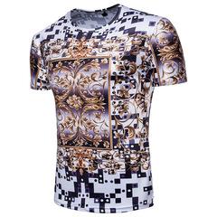 Floral Print Short Sleeve Round Neck Men's T-Shirt Top Large Size 01 m