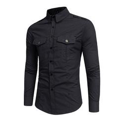 New fashionable men's all-cotton overalls long-sleeved shirt Omega ZT-CS17 black s