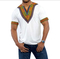 Fashion V-collar Ethnic Style Traditional Printed Men's T-shirt Short Sleeve ZT-4049 white xxl
