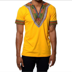 Fashion V-collar Ethnic Style Traditional Printed Men's T-shirt Short Sleeve ZT-4049 yellow xxl