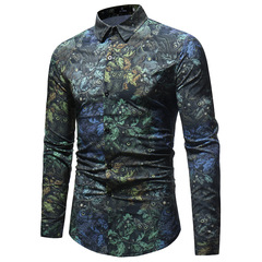 Fashion European and American style large size men's printed long-sleeved shirt s01 l