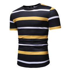 Men's Short Sleeve Youth Round Neck Stripe Casual T-Shirt yellow m