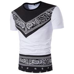 Summer national style printing men's short-sleeved round neck T-shirt large size white s