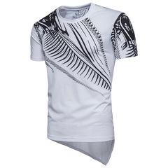 Men's hip hop trend irregular short-sleeved round neck T-shirt top white s