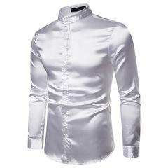 Nightclub Men's Glossy Long Sleeve Shirt Youth Sexy Satin Ouma Men's Wear white s