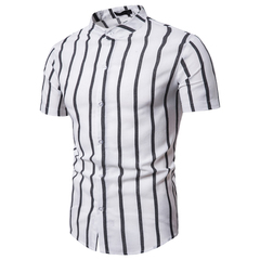 New Short Sleeve Men's Stand Collar Striped Shirt Men's Shirt white s