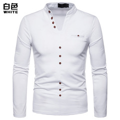 Men's large size warm long-sleeved V-neck T-shirt white s