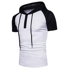 Men's stitching short-sleeved hooded T-shirt European code white s