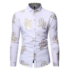 European and American dress shirt hot stamping men's long-sleeved shirt ZT-CS73 white s