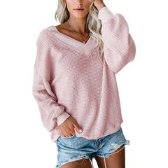 New sexy thread waffle long sleeve t-shirt female pink 3xl