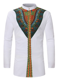 African Ethnic Wind Printed Long-sleeved Shirt ZT-1090 white m