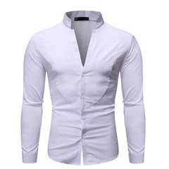Men's fashion solid color stand collar long-sleeved shirt TX09 white s