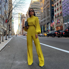European and American plain high-collar low-back and long-sleeved casual pants yellow S