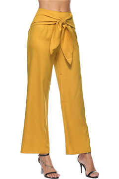 European and American women's wear with casual wide-legged pants yellow S