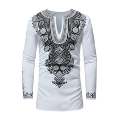 Men's African ethnic style printed long T-shirt top ZT-18225 white xxl