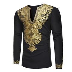 Men's African ethnic style printed long T-shirt top ZT-18225 black 3xl