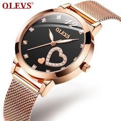 OLEVS Rose Gold Fashion Leisure Student Quartz Watch Rose black