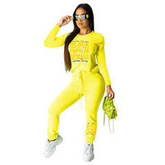European and American women's long-sleeved lace two suits yellow s