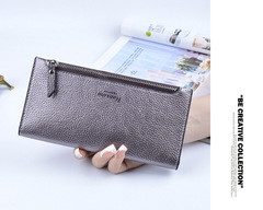 Korean version of soft face thin ladies wallet long wallet silver onesize