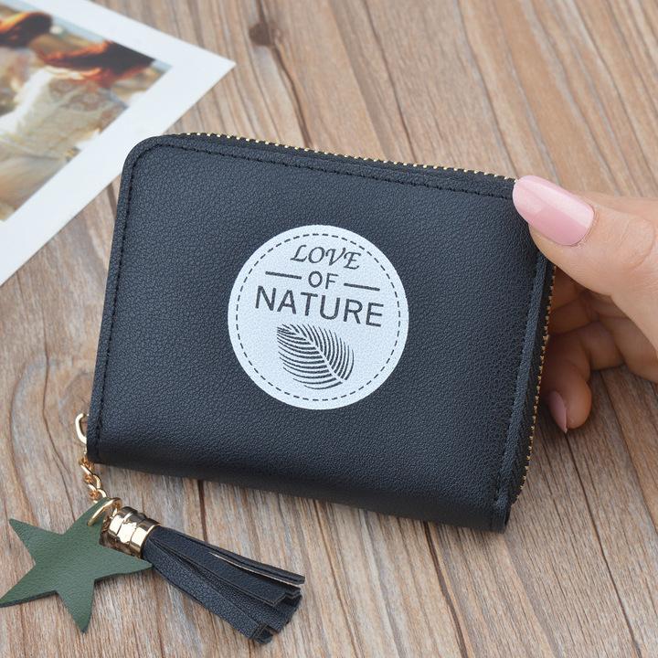 Women's wallet short zipper new mini wallet black onesize