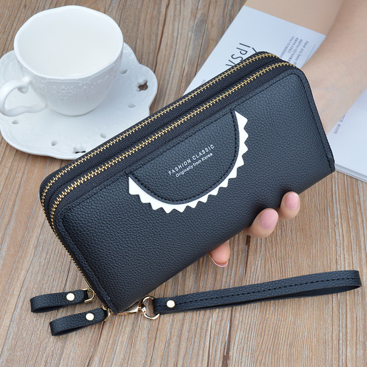 New zipper wallet ladies long double-layer large capacity clutch black onesize