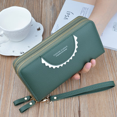 New zipper wallet ladies long double-layer large capacity clutch green onesize