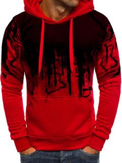 New men's printed sweater long-sleeved hoodie sweatshirt jacket red M