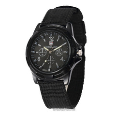 Canvas Strap Sports Men Boy Wrist Watch Men Nylon Analog Quartz Clock black