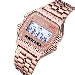 Unisex Watch Stainless Steel LED Sports Wristwatches Electronic Digital Watches Present rose gold