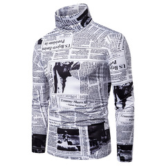 New Men's Large Size 3D English Print High Neck Long Sleeve T-Shirt L24 s01 s
