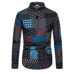 Ethnic style floral men's casual large size long sleeve shirt slim shirt s01 s