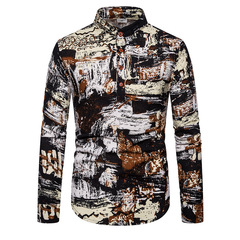 European and American national wind printed shirt men's long-sleeved shirt male s01 s