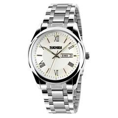 SKMEI watch exquisite business steel waterproof calendar watch men watch white