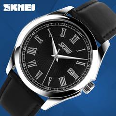 SKMEI Men's Watch Leather Belt Fashion Simple Student Quartz Watch Couple Watch Calendar black