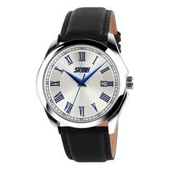 SKMEI Men's Watch Leather Belt Fashion Simple Student Quartz Watch Couple Watch Calendar blue