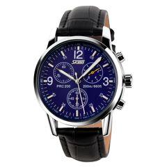 SKMEI Men's Fashion Waterproof Business Watch Classic Steel Band Watch Men's Watch black blue