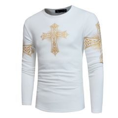 Printed sweater plus velvet warm men's round neck European code ZT-WY20 white s